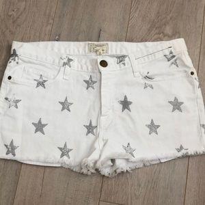 Current/Elliott cut off stars white jean shorts 29